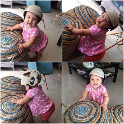 Lucía, hija del cantante Marel Alemany y de la comunicadora Diana Lora, usando nuestro casco NOSHOCK